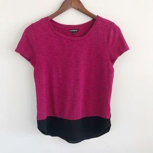 Express Fuchsia Black Short Sleeve Colorblock Top